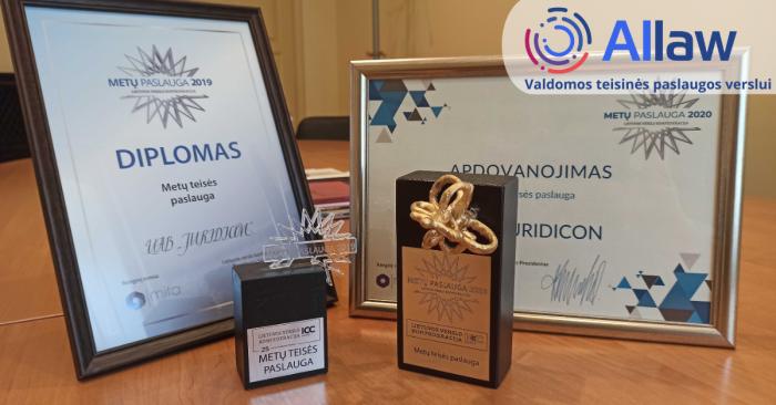 Allaw 2019 ir 2020 metų apdovanojimai