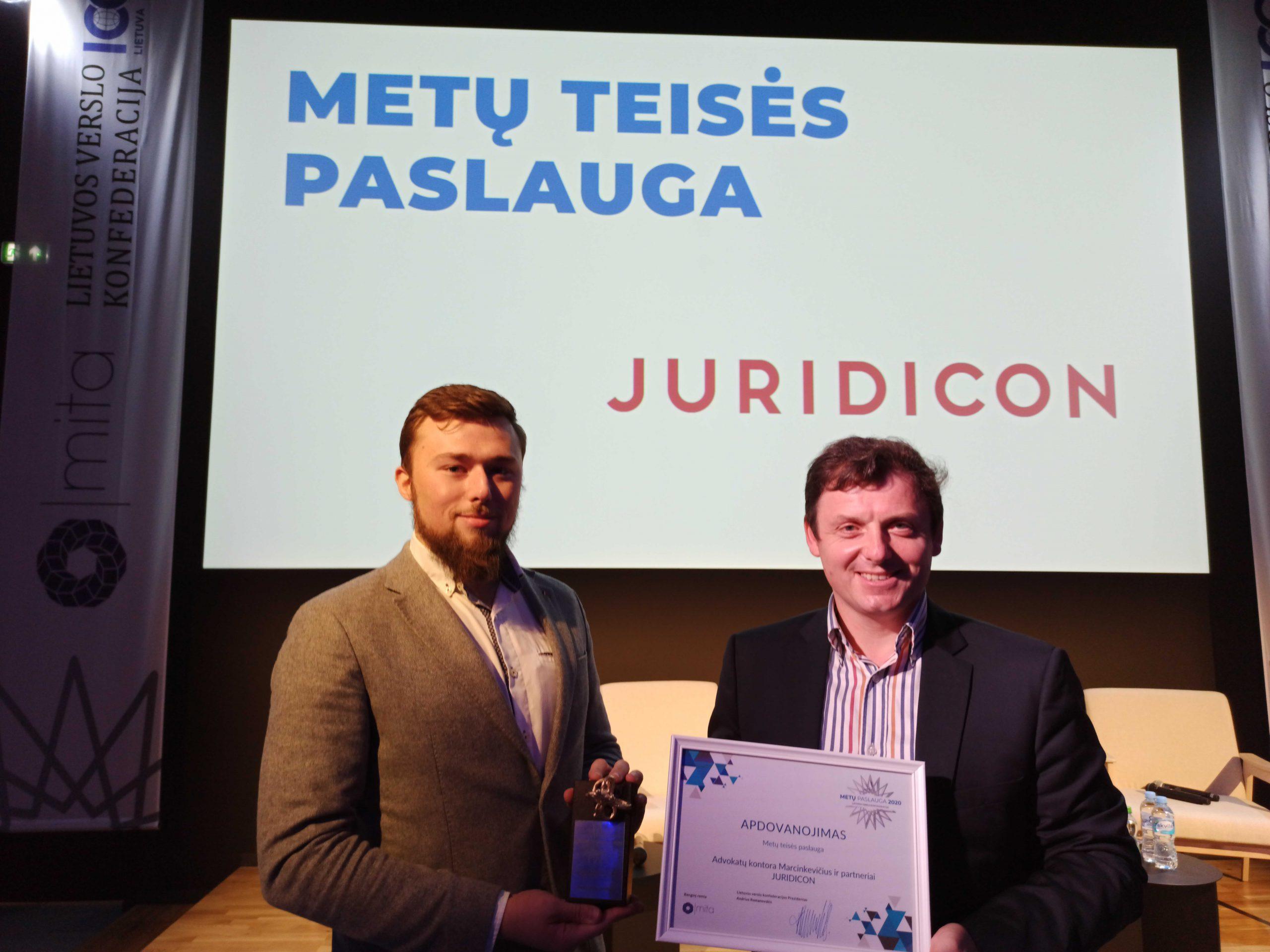 Metų teisės paslauga apdovanojimai 2020 Juridicon Allaw